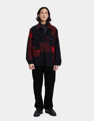 Engineered Garments Melton Wool Cruiser Jacket in Black Big Plaid