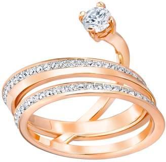 Swarovski Fresh White Crystal Rose Gold Plated Slant Ring