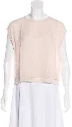 Rag & Bone Silk Short-Sleeve Crop Top