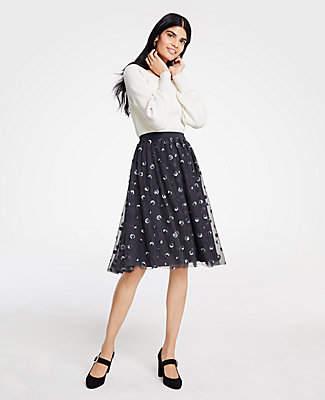 Ann Taylor Petite Sequin Dot Tulle Skirt