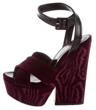 Sergio Rossi Velvet Platform Sandals w/ Tags