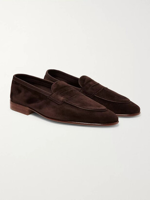 Edward Green Polperro Leather-Trimmed Suede Penny Loafers - Men - Brown