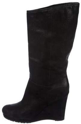 Prada Leather Round-Toe Wedge Boots
