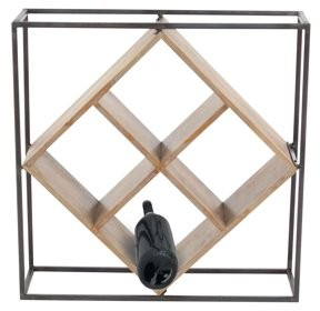 DecMode Decmode Modern 19 x 19 inch 4-bottle iron and Chinese Fir wood wine rack, Brown