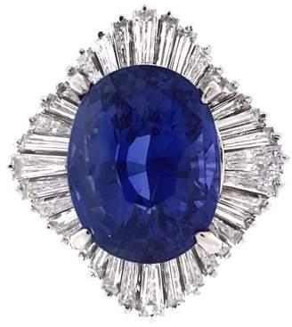 900 Platinum & 8.34 ct. Sapphire and Diamond Ballerina Ring Size 6