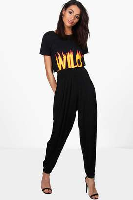 boohoo India Pleat Front Jersey Hareem Trouser