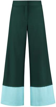 Blonde Gone Rogue Raw Edge Wide Leg Pants In Green