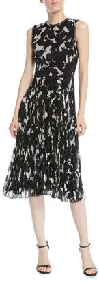 Jason Wu Sleeveless Floral-Print Pleated-Skirt Chiffon Midi Cocktail Dress