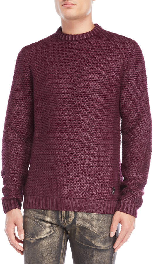Versace Jeans Burgundy Crew Neck Sweater