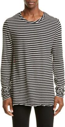 Ksubi Sinister Long Sleeve Distressed Stripe Linen Blend T-Shirt