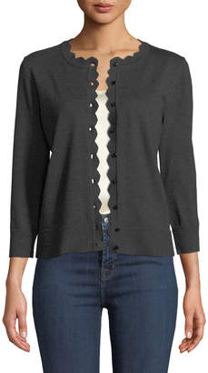 Neiman Marcus 3/4-Sleeve Scalloped Cardigan