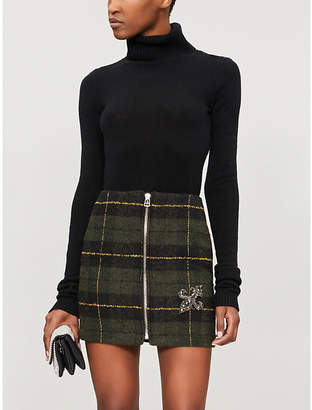 The Kooples Fleur de Lys tartan mini skirt