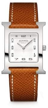 Hermes Heure H MM Stainless Steel& Leather Strap Watch
