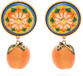 Dolce & Gabbana Floral and orange drop clip-on earrings