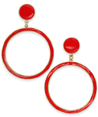 INC International Concepts I.n.c. Gold-Tone Enamel Gypsy Hoop Earrings, Created for Macy's
