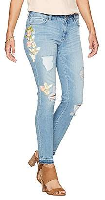 Denim Crush Women's Pastel Floral Embroidered Patch Skinny Jean Destroy w/Release Hem
