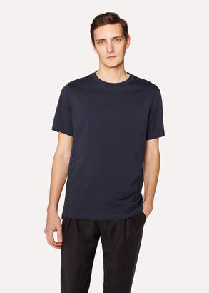 Paul Smith Men's Slim-Fit Navy Crew Neck T-Shirt With Embroidered Signature