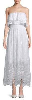 Le Marais Eyelet Lace Straight Across Silk Maxi Dress