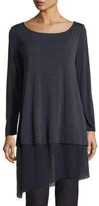 Eileen Fisher Bateau-Neck Layered Tunic w/ Asymmetric Sheer Hem, Petite