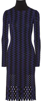 Diane von Furstenberg Cutout Two-tone Wool Turtleneck Midi Dress - Blue