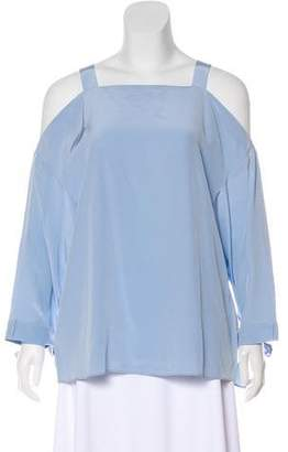 Tibi Cold-Shoulder Accent Silk Top w/ Tags