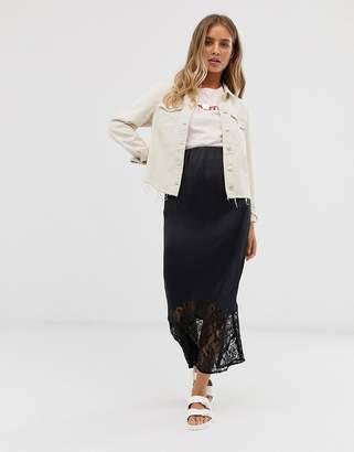 Asos Design DESIGN bias cut satin midi slip skirt with lace hem