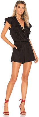 BCBGMAXAZRIA Lace Up Romper in Black $198 thestylecure.com