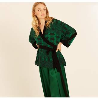 Amanda Wakeley Emerald Printed Paisley Wrap Top