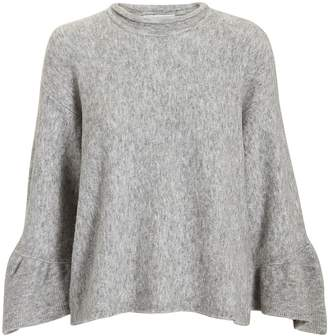 3.1 Phillip Lim Ruffle Sleeve Grey Sweater