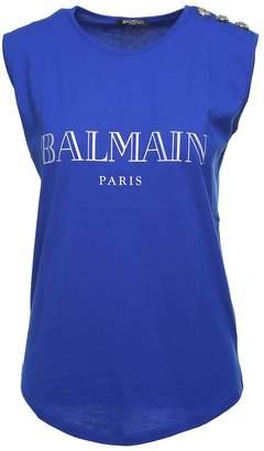 Balmain Iridescent-logo Cotton-jersey Tank Top