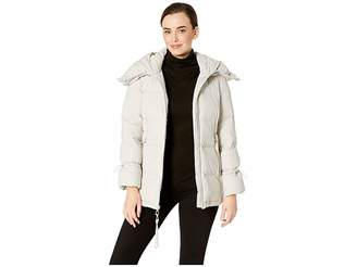 Cole Haan Soft Touch Stretch Down Channel Quilt Coat with Oversized Hood