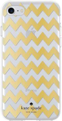Kate Spade New York Chevron Protective Hardshell Case for iPhone 7 - Gold Foil/Clear Glitter