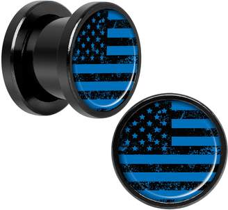 Body Candy Black Anodized Steel American Flag Screw Fit Plug Set of 2 00 Gauge