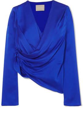 Jason Wu Wrap-effect Silk Top - Cobalt blue