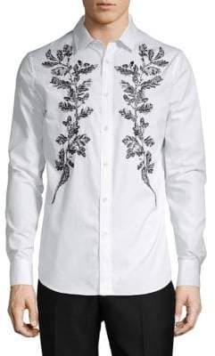Alexander McQueen Embroidered Long-Sleeve Shirt