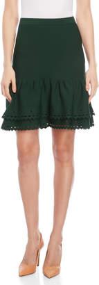 Sandro Moss Green Bao Knit Flounce Skirt
