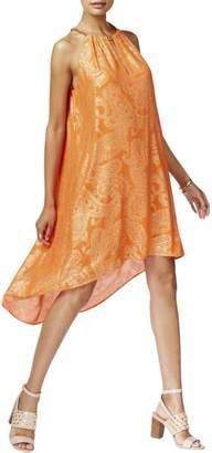 MICHAEL Michael Kors Womens Metallic Shift Casual Dress Orange S