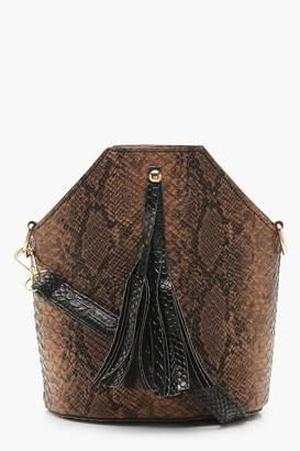 boohoo Snake Tassel Cross Body Bag