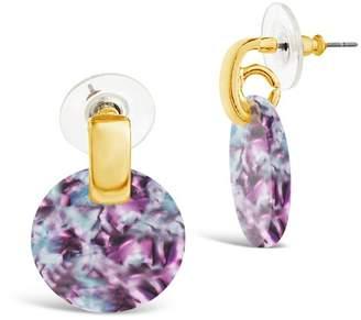 Sterling Forever Water Lily Resin Circle Drop Stud Earrings