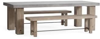 Pottery Barn Abbott Chunky Leg Dining Table & Bench Dining Set, Gray