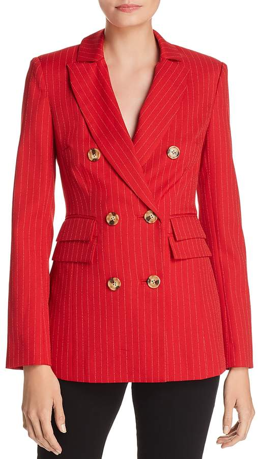 Collective Go From Here Double-Breasted Pinstriped Blazer