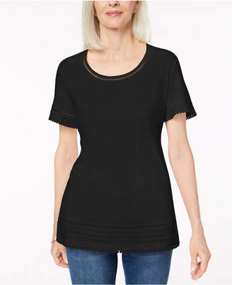 Karen Scott Ladder-Inset T-Shirt, Created for Macy's