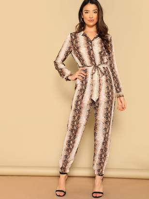 Shein Single Breasted Belted Snakeskin Print Carrot Leg Jumpsuit