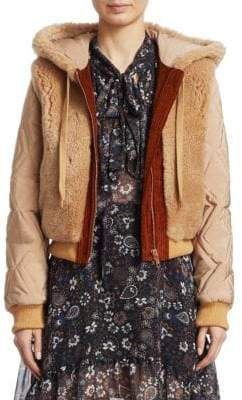 See by Chloe Shearling Hood Quilted Bomber