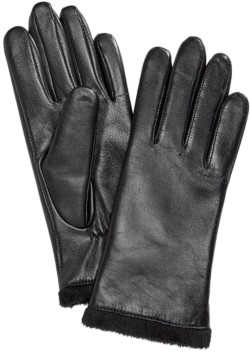 Charter Club Micro Faux Fur Lined Leather Tech Gloves, Created for Macy's