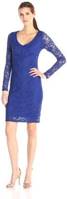 Marina Women's Corded Stretch Lace Dress with V Front Neck and Center Back Keyhole
