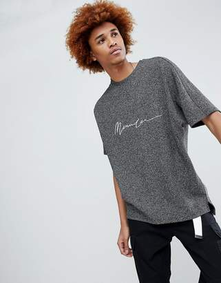 Mennace Oversized T-Shirt In Gray With Embroidered Logo