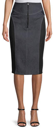 Diane von Furstenberg High-Waist Zip-Front Knee-Length Jean Skirt