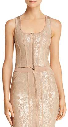 GUESS Snake-Foiled Sleeveless Crop Top