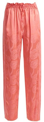 Peter Pilotto High Rise Floral Jacquard Satin Trousers - Womens - Pink Print